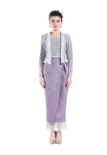 Meria Mauve Lace Kebaya Top with Skirt from Hernani in Purple