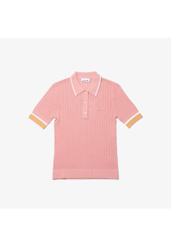 Lacoste pink Women's Lacoste Slim Fit Striped Sleeve Knit Polo Shirt 7B5A3AABE95367GS_1