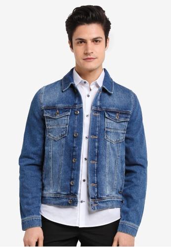 Burton Menswear London blue Mid Blue Denim Harry Jacket 06524AAEEDF0FFGS_1