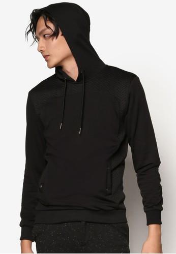 暗紋拼接esprit outlet連帽長袖衫, 服飾, 男性服飾