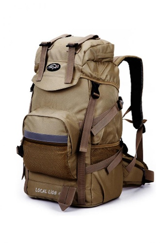 Local Lion brown Local Lion Steel Support Water Resistant Hiking Backpack STEEL 45L (Khaki) LO780SE23SGIMY_1