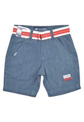 Moose Gear blue and navy Stripes Short Pants Twill With Belt For Boys B4841KA6AD2100GS_1