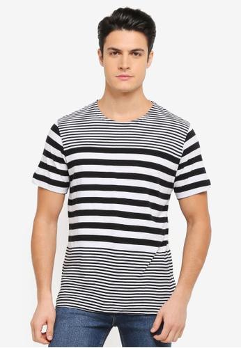 MANGO Man black Striped Cotton T-Shirt MA449AA0T1ENMY_1