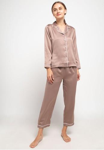 Anne Wintours brown Pyjama Baju Tidur Set Long Sleeve Long Pants Satin Sleepwear 4A447AA00FCBC4GS_1