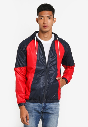 !Solid red and navy Naveen Nylon Zipped Hoodie 92987AAB437B68GS_1