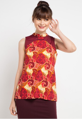 Bateeq red and multi Sleeveless Cotton Print Blouse 4B171AA97B9C00GS_1