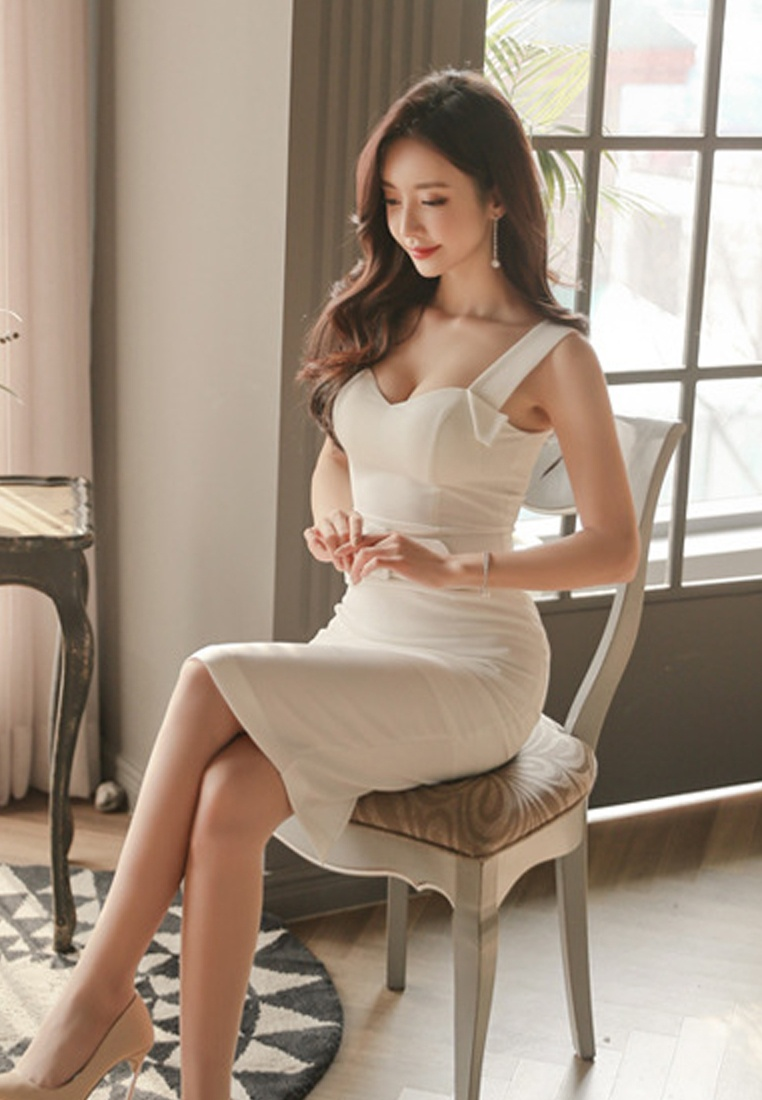White White One New Piece Dress Sunnydaysweety Sleeveless CA041807 Sweetheart S S 2018 qtRxH4R