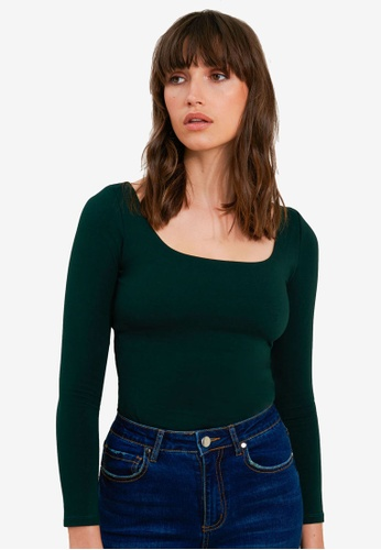 FORCAST green Kira Long Sleeve Top DB79BAA0A1ED4DGS_1