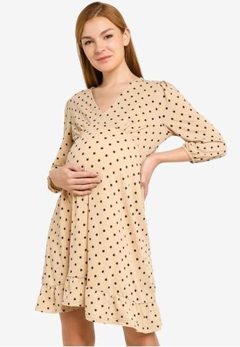 Mama.licious beige Celina Jersey Short Dress 126DAAABB3402DGS_1