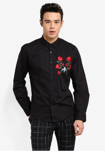 ZALORA black Embroidered Patch Long Sleeve Shirt 6EDFDAA8E9FC6EGS_1