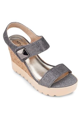 簡約鉚釘繞踝楔形涼鞋, zalora 鞋評價女鞋, 楔形涼鞋