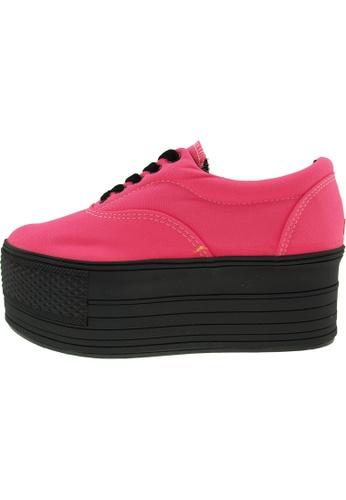 Maxstar 粉紅色 新款韩国鞋C60-5H時尚帆布布混合女粉紅色 US Women Size MA345SH53HGOTW_1