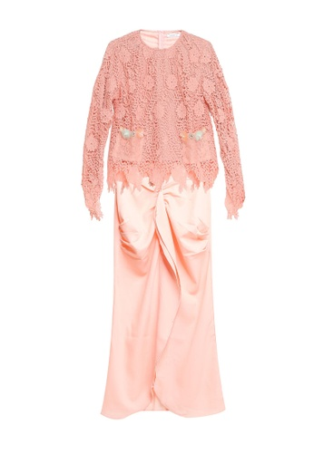 Embellish Lace Top With Drape Skirt from Lubna in Orange