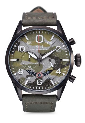 Hawker esprit 中文Harrier II 迷彩皮革大圓錶, 錶類, 錶類