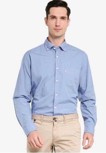 Sacoor Brothers blue Men's Plain Cotton Regular Fit Shirt 73CEDAA3AAA730GS_1