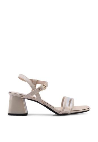 Kimmijim 米褐色 Mel Open Toe Ankle Strap Heels 2BD5CSH0E1B9BCGS_1