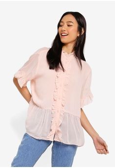 2b63639fa7340a French Connection pink Clandre Light Ruffle Blouse 89843AA3A342D9GS 1