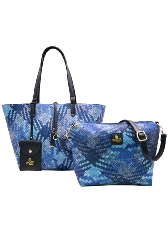 STRAWBERRY QUEEN blue Strawberry Queen Reversible 2-in-1 Tote Bag (Rattan, Navy Blue) FDD1AAC9204745GS_1