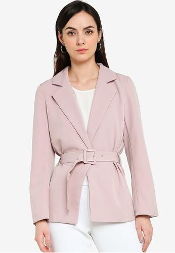 ZALORA WORK 粉紅色 綁帶西裝外套 61FC0AA15DEEF8GS_1