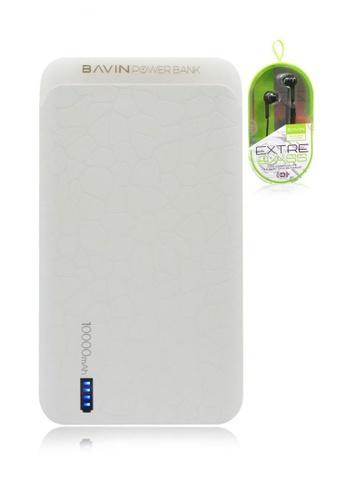 BAVIN white 10000mAh Synigetic Powerbank with Bavin HX809 Earphone F8B40ACA9DDFDEGS_1