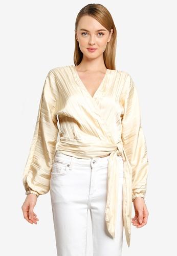 Vero Moda beige Kinsley Long Sleeve Wrap Top 31888AAFCCC618GS_1