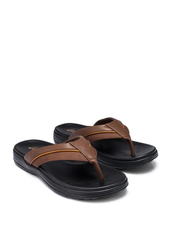 Louis Cuppers 褐色 Panelled Toe Post Sandals 9F569SHD0E22EEGS_1