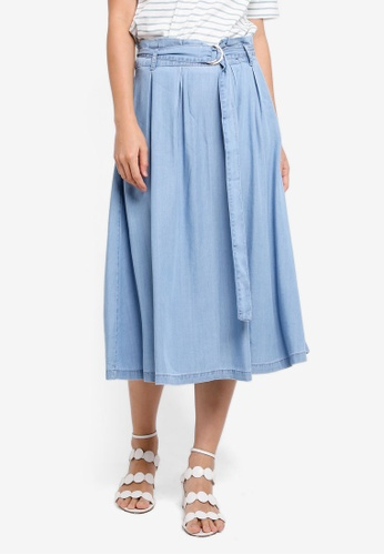 ESPRIT blue Denim Midi Skirt 21F76AA4F87053GS_1