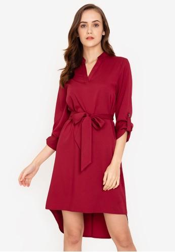 ZALORA WORK red Notch Neck Rolled Up Sleeves Dress 48FD2AAFA336F2GS_1