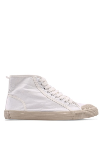 Burton Menswear London white White Canvas Toe Bumper High Tops 0DDD6SHAA3797CGS_1