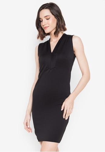 Ashley Collection black V-Neckline Sleeveless Bodycon Dress 0E30AAA1577DE4GS_1