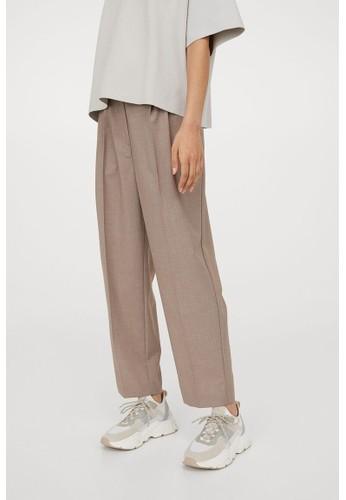 H&M beige Crease-leg trousers 652F4AA8575984GS_1