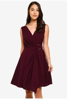 e04a248e0a ZALORA red Tie Detail Fit And Flare Dress 1B94FAAE1C45A8GS_1