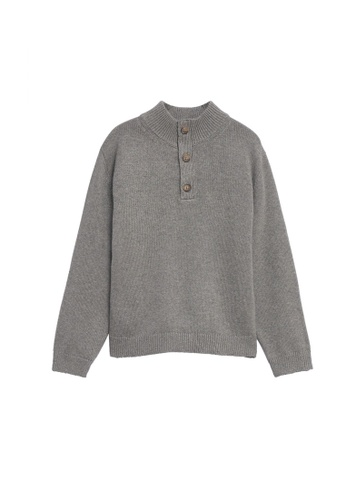 MANGO KIDS grey Patch Cotton Sweater C8B9AKA50BFC98GS_1