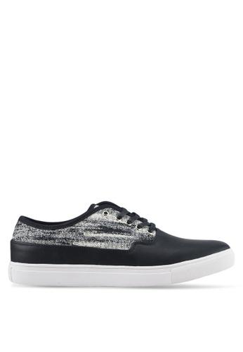 JAXON black Mixed Materials Tweed Casual Sneakers F89BASH2071034GS_1