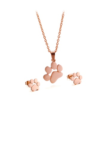 Glamorousky silver Simple and Cute Plated Rose Gold Dog Paw 316L Stainless Steel Necklace and Stud Earrings Set 3581AAC9454686GS_1