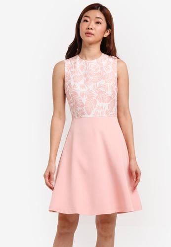 ZALORA pink Printed Fit & Flare Dress EB957AA53C44D1GS_1