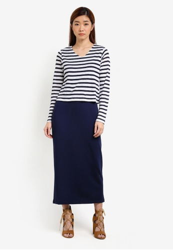 UniqTee navy Contrast Stripe Elastic Maxi Dress UN097AA0S22ZMY_1