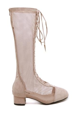 Twenty Eight Shoes beige Sexy Mesh Long Boots VB2801 0FB79SHCCB4D57GS_1
