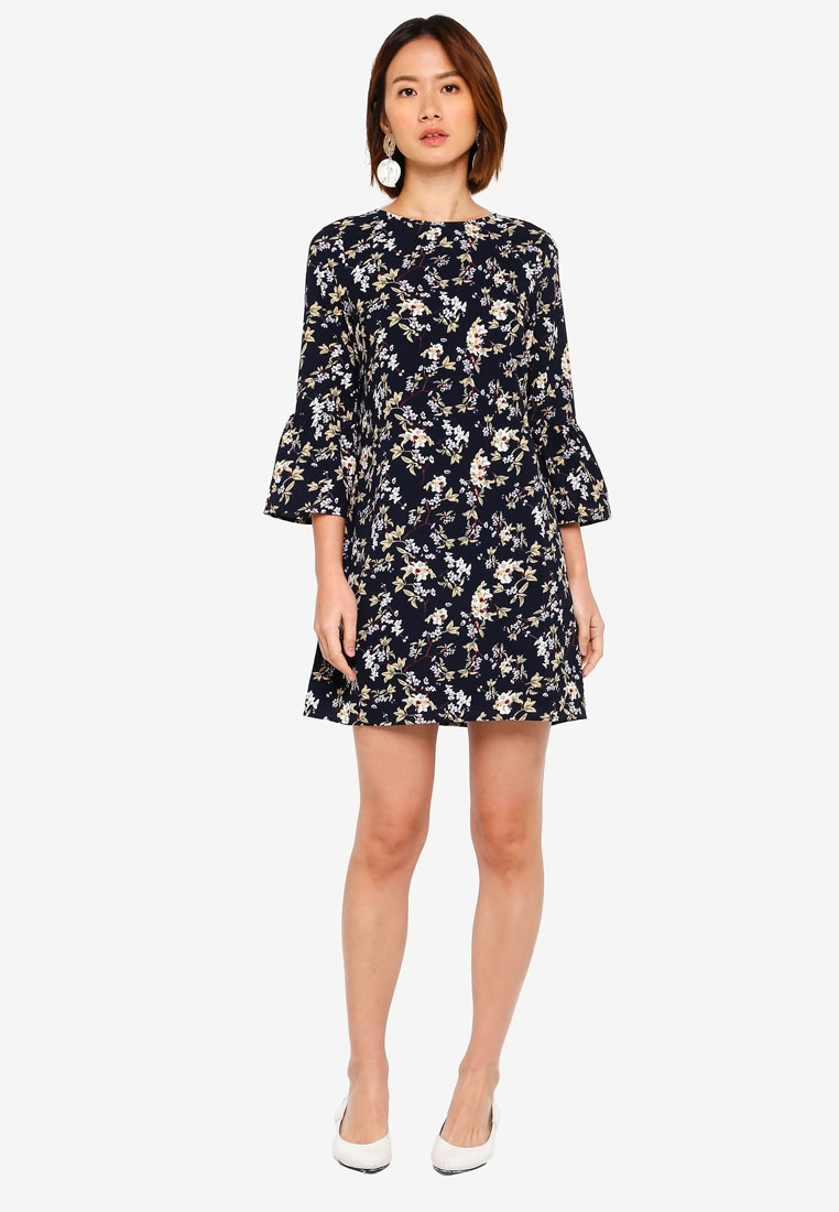 Floral Navy Fluted Based Dress ZALORA Sleeves Shift xn0CCqwZS