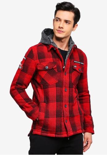 Superdry 紅色 連帽抽繩外套 93765AA5543F67GS_1