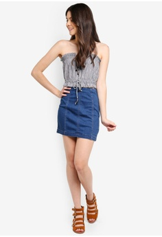 5c5e732de2a 74% OFF Free People Modern Femme Denim Mini Skirt RM 229.00 NOW RM 58.90  Sizes 2 4 6 8