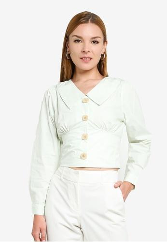 ZALORA green Button Detail Long Sleeves Shirt 41BDAAA185964BGS_1