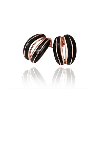 Glamorousky silver Fashion Plated Rose Gold Geometric Stud Earrings EFDCEAC1B32CC3GS_1
