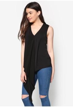 Asymmetrical Drape Sleeveless Top