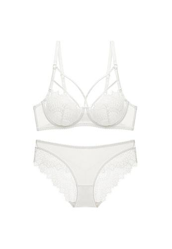 W.Excellence 白色 Premium White Lace Lingerie Set (Bra and Underwear) 5CC45US8213CE1GS_1
