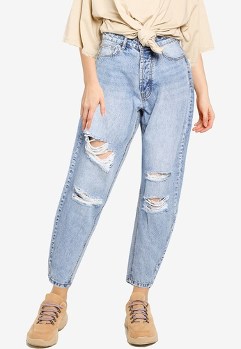 MISSGUIDED blue Distressed Tapered Leg Jeans 09855AABC78A6CGS_1