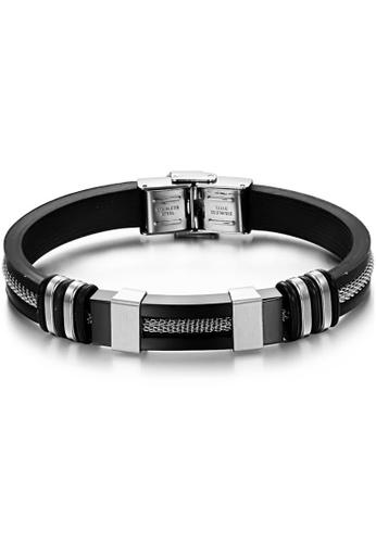 YOUNIQ black YOUNIQ Black Silicone with Steel Line Bracelet for Men YO999AC87TEYMY_1