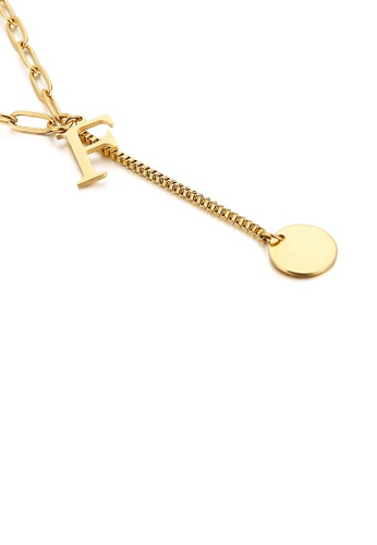 Glamorousky silver Simple and Fashion Plated Gold English Alphabet F Tassel 316L Stainless Steel Pendant with Necklace 15D77ACE408B64GS_1
