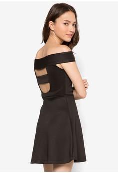 Off Shoulder Fit And Flare Dress