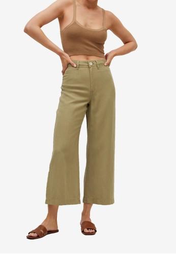 Mango green Lyocell Culotte Trousers B8498AAEE6D80CGS_1